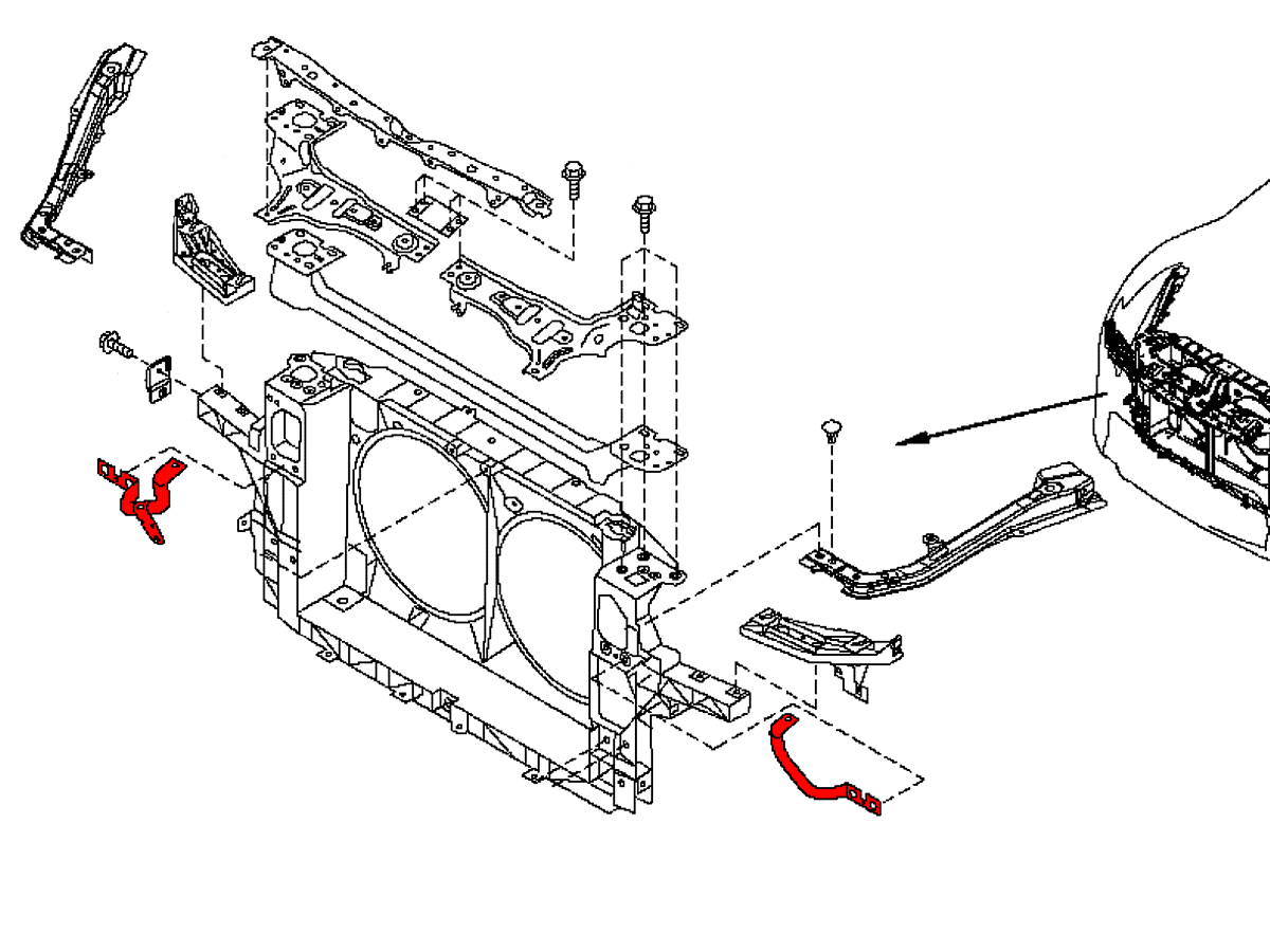 OEM radiator support bracket is found on all 2009+ Nissan 370Z's.